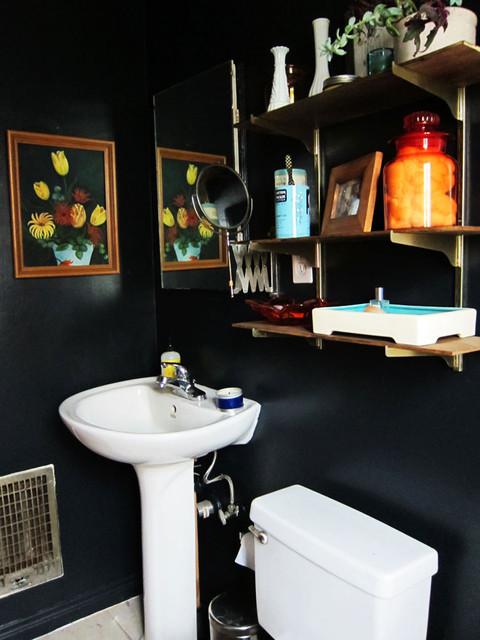 черная ванная комната - детали