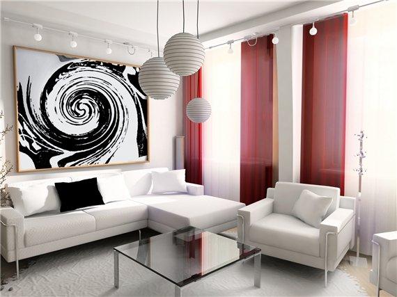 интерьер красно-белой гостиной