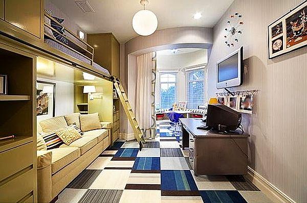 Комната для мальчика с кроватью чердаком