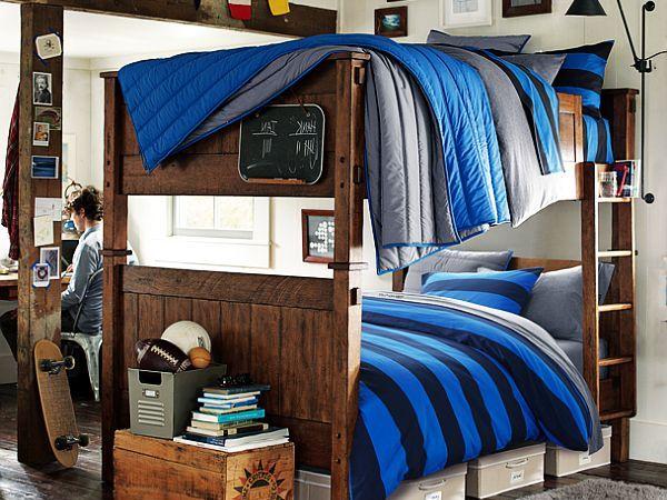 Деревянная двухъярусная спальня для парней