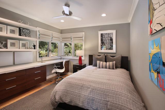 Интерьер комнаты для подростка в сером цвете