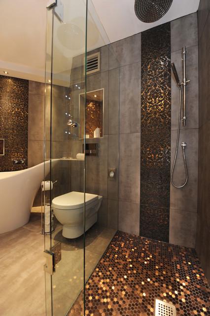 идеи для ванной - медь и бронза в интерьере ванной комнаты