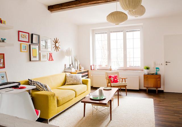 оптимистичный дизайн гостиной