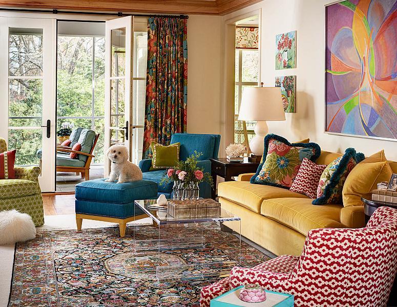 интерьер и дизайн гостиной с картиной Филиппа Муса