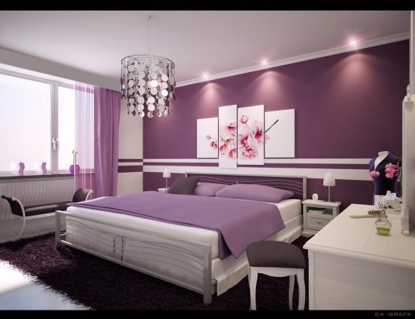 дизайн спальни фиолетовая фото