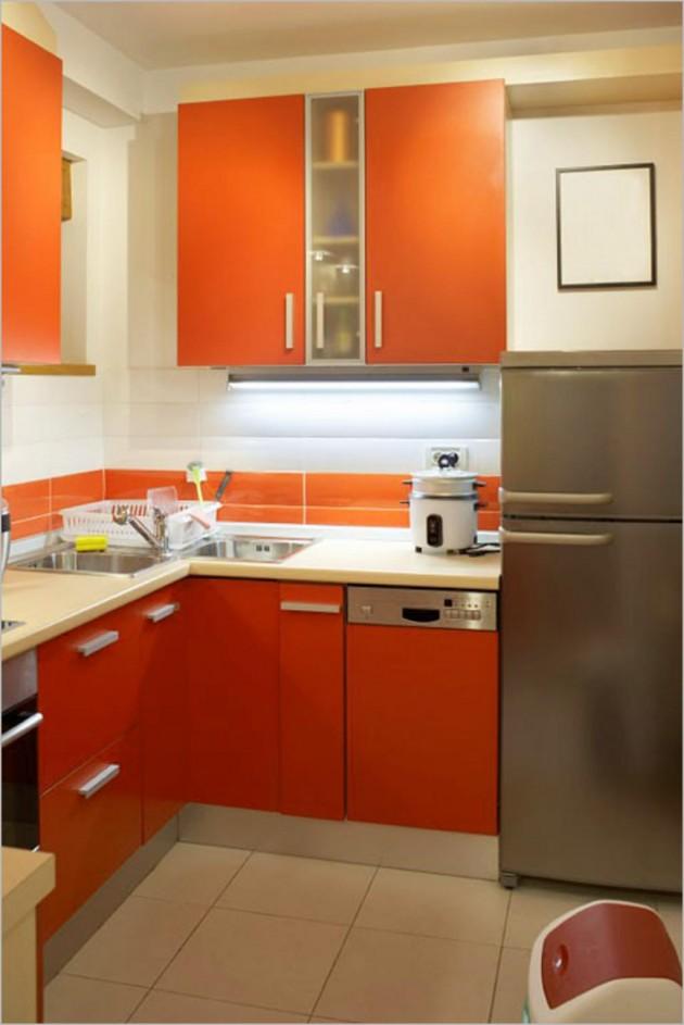 кухня в хрущевке оранжевого цвета
