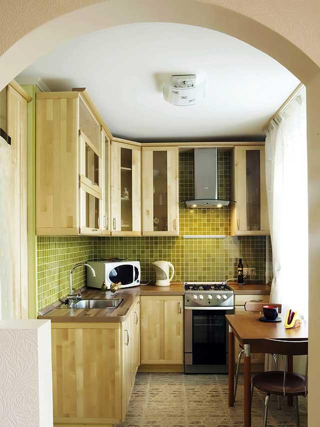 дизайн маленькой кухни с аркой