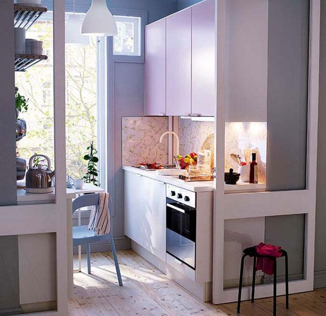 дизайн маленькой кухни с раздвижными дверями