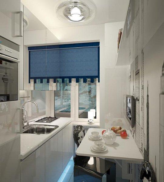 дизайн маленькой кухни с откидным столиком