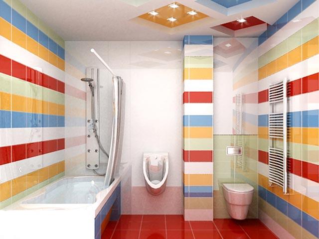 ванная комната я разноцветной плиткой