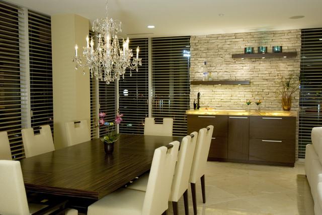 интерьер столовой и кухни  в стиле модерн