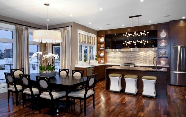 Дизайн столовой кухни в коричневых тонах