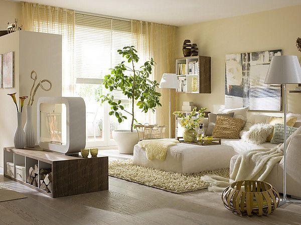 Эко-дизайн гостиной в теплых тонах