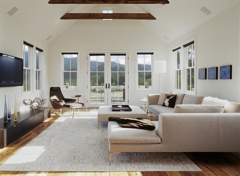 дизайн потолка гостиной с деревянными балками