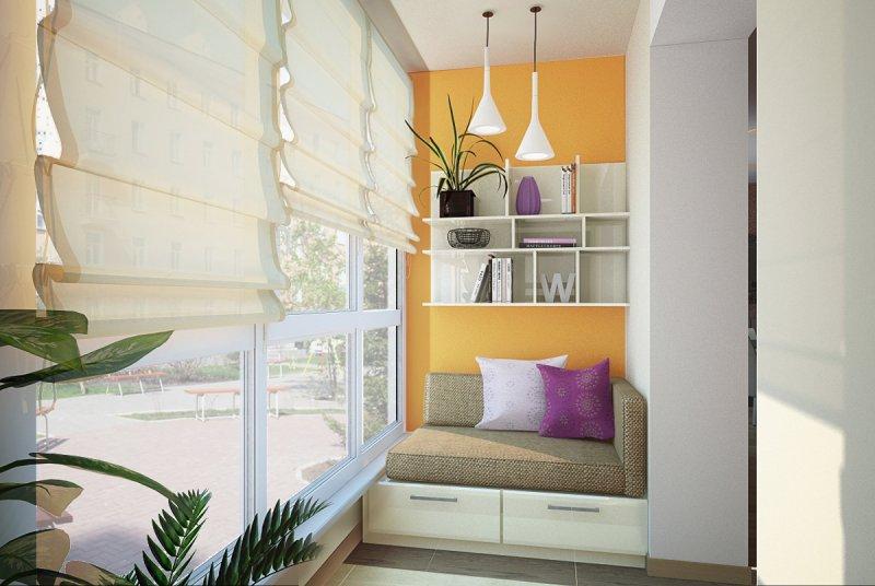 закрытый балкон с тахтой