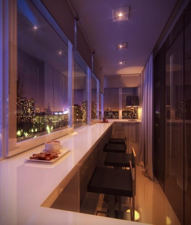 Современный интерьер балкона с барной стойкой
