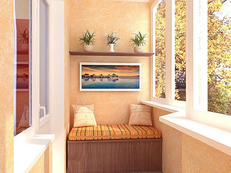фото балкона с банкеткой