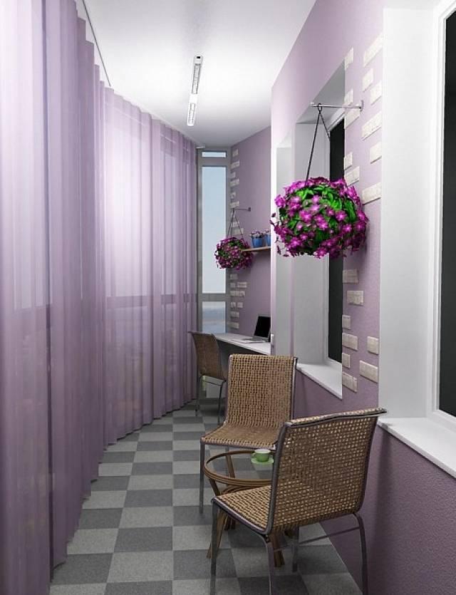 интерьер балкона с окнами в пол