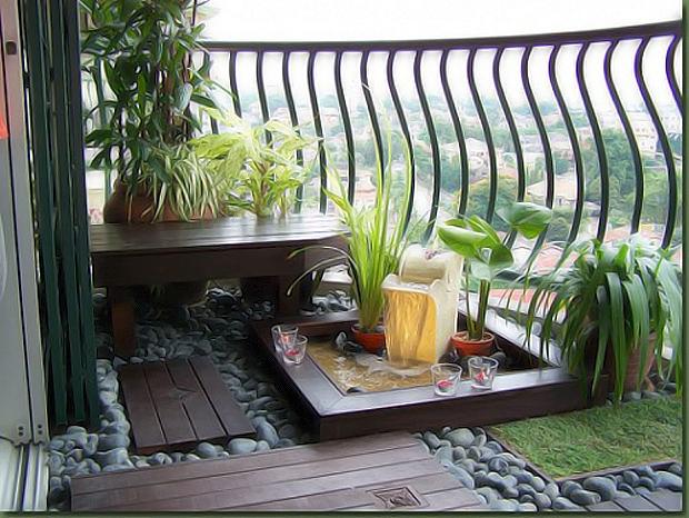 дизайн балкона в стиле дзен