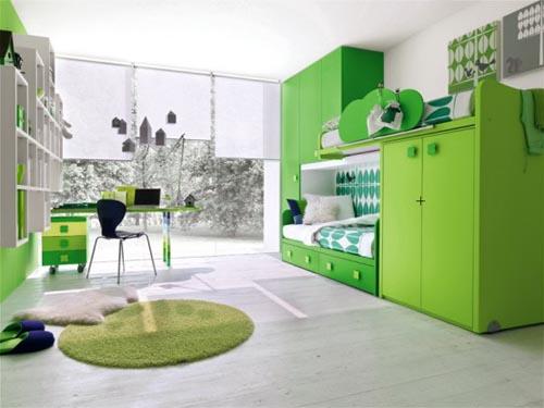 детская комната зеленого цвета