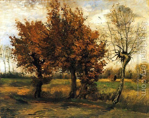 картины для интерьера «Осенний пейзаж с четырьмя деревьями», Винсент Ван Гог