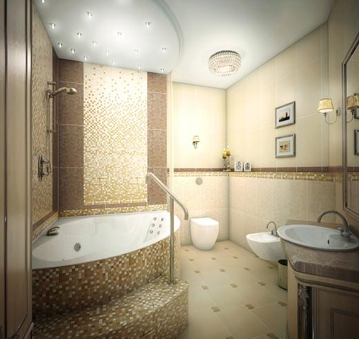 дизайн ванной - многокомнатная квартира