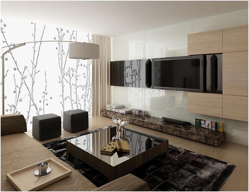 стекло в интерьере гостиной