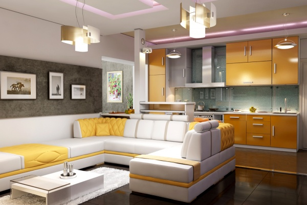дизайн кухни совмещенной с гостиной фото 9