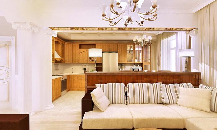 большая кухня с гостиной