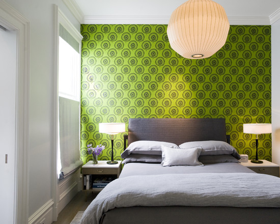 зеленые обои в спальной комнате фото 10
