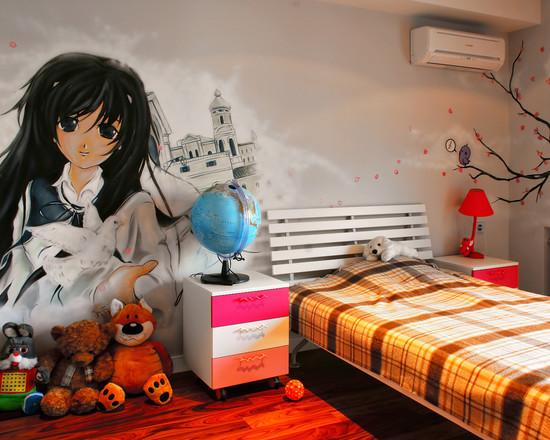интерьер спальни с фотообоями мультик