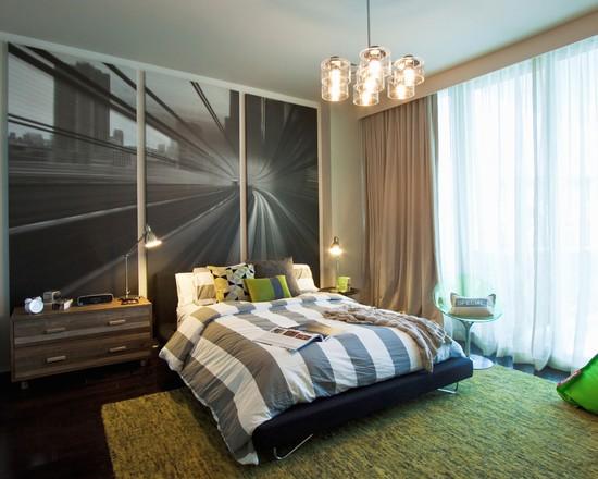 интерьер спальни с фотообоями догога