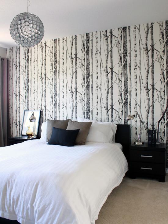 интерьер спальни с фотообоями природа