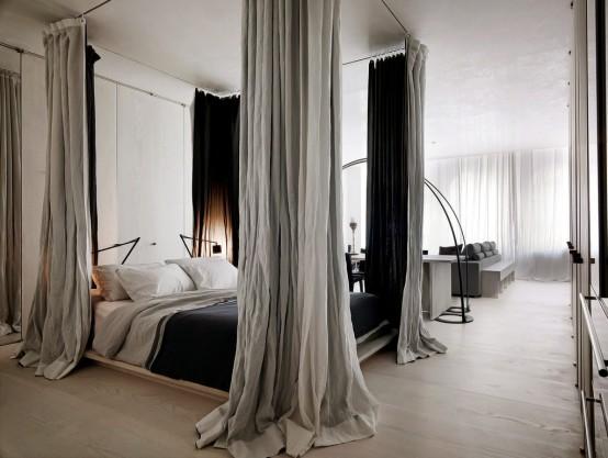 Интерьер лофта - фото спальни