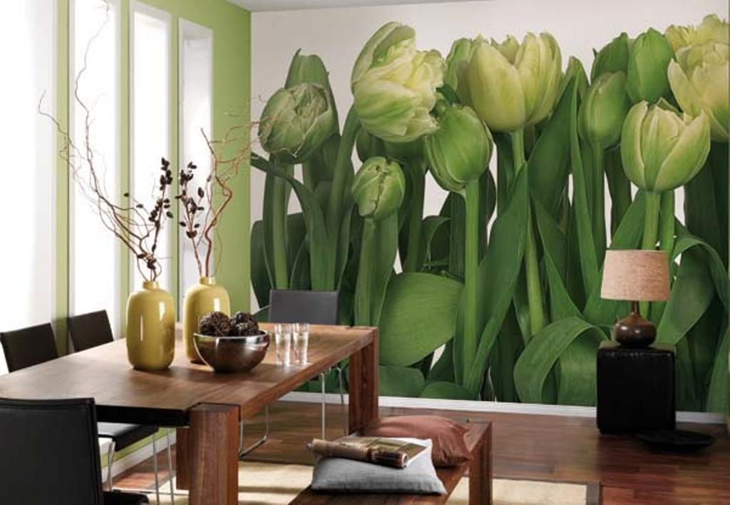 фотообои тюльпаны на кухне