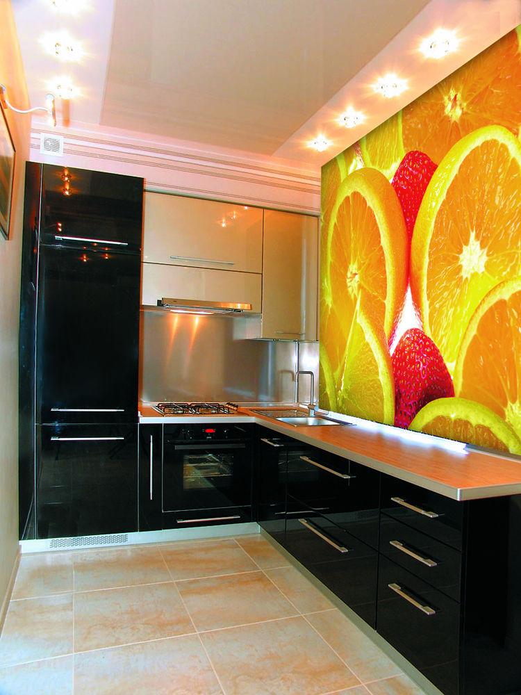 цитрусовые фотообои на кухне