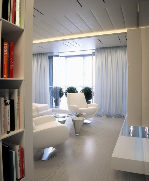 Квартира в белом - вид на спальню