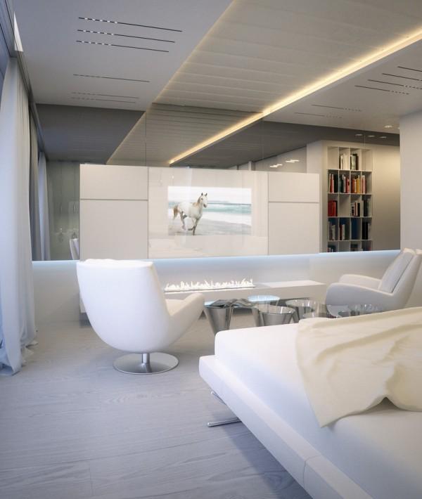Квартира в белом - гостиная