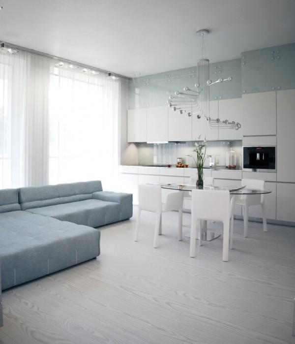 Квартира в белом - кухня-столовая