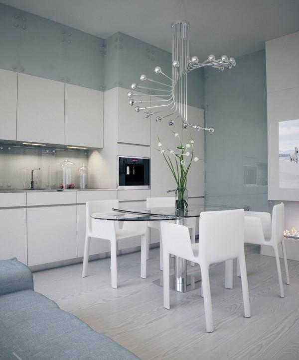 Квартира в белом - глянцевая кухня