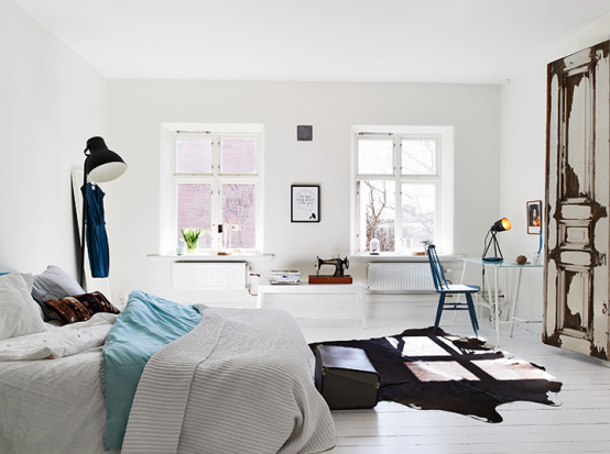 спальня в квартире в скандинавском стиле