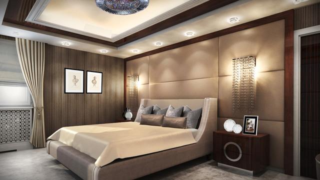 интерьер спальной комнаты в стиле Арт-деко