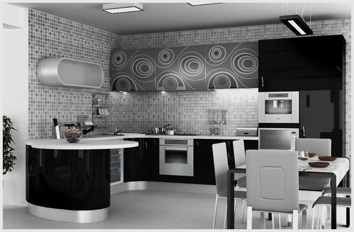 черная кухня с белой столешнцей
