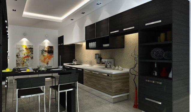 потолок в черной кухне