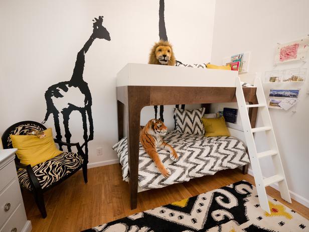 Детская комната для двоих детей в стиле сафари