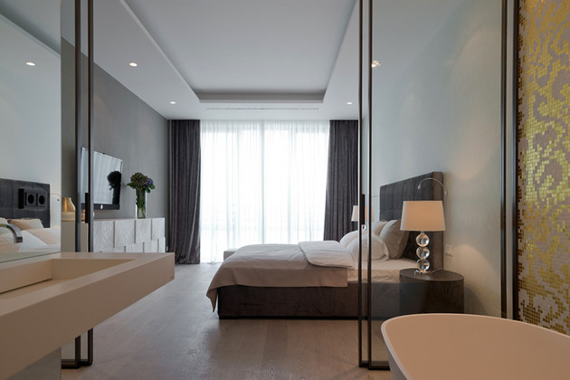 квартира студия - фото спальни