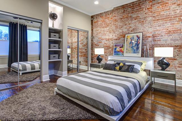 кирпич в дизайне интерьера спальни