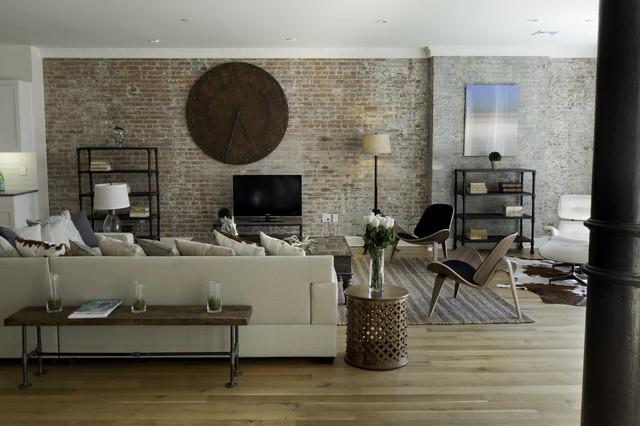 кирпичная стена в интерьере гостиной комнаты