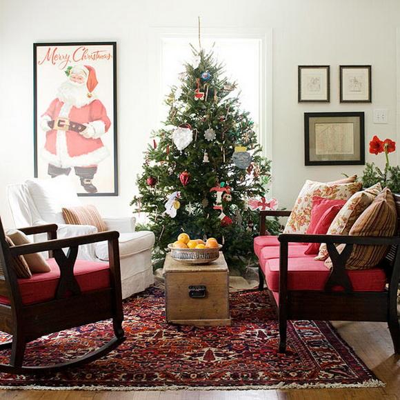 Украшение гостиной комнаты на Новый Год