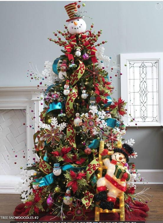 ярко украшенная елка со снеговиком вместо звезды